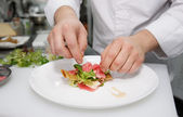 Chef is making appetizer — Stock Photo
