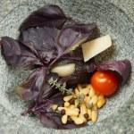 Ingredients of sauce in granite mortar — Stock Photo #20538901