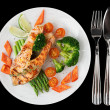 Grilled salmon steaks in plate, isolated on black baclground — Stock Photo #20561025