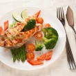 Stock Photo: Grilled salmon steaks in plate