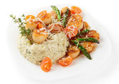 Risotto with pan seared sea scallops isolated on white — Stock Photo