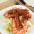 Stock Photo: Jumbo prawns with lettuce