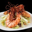 Shrimps and lettuce appetizer — Stock Photo #21753613