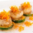 Seared scallops with citrus zest and sweet-sour sauce — Stock Photo