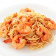 Pasta with tomato sauce and shrimps — Stock Photo