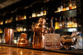 Bartender tools on bar counter — Stock Photo