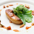Stock Photo: Fried foie gras with caramelized nuts and vegetables
