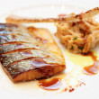 Seabass cooked in asian style — Stock Photo
