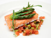 Slow cooked salmon steak — Stock Photo