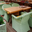 Street tables of an european restaurant — Stock Photo