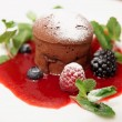 Chocolate fondant with berry sauce — Stockfoto #31021489