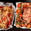 Roasting pan with two cooked dishes — Stock Photo