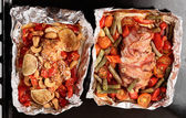 Roasting pan with two cooked dishes — ストック写真