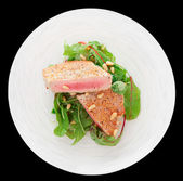 Lightly seared tuna steak, isolated — Stock Photo