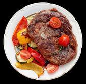 Kobe beef ribeye steak with grilled vegetables — Stock Photo