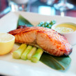 Salmon steak cooked in asian style — Stok fotoğraf #38685761