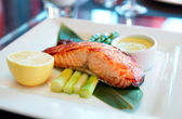 Salmon steak cooked in asian style — Stock Photo