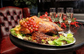 Roasted thanksgiving turkey — Stok fotoğraf