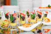 Berry dessert in shot glasses — Photo