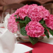 Boquet on arranged table — Stock Photo