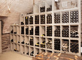 Wine cellar with old riesling — Stock Photo