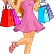 Illustration of a beautiful cartoon girl with shopping bags  — Stock Vector