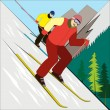 The mountain skier — Stock Vector