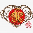 Calligraphic design elements with heart — Stock Vector