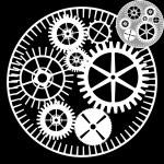 黒の背景上の歯車 — ストックベクタ #31129263