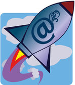 Rocket speed of e-mail — Stock Vector
