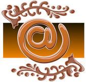 Choklad e-symbol på — Stockvektor