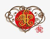 Calligraphic design elements with heart — Stockvektor