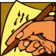 Hand and pen — Vector de stock #36721587