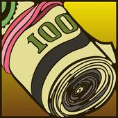 деньги ролл, резинки — Cтоковый вектор