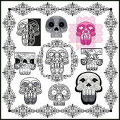 Skull and patterns — Stock Vector