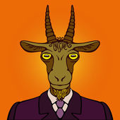 Portrait of office goat — Vector de stock