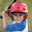 Постер, плакат: Portrait of Boy with Baseball Bat and Red Helmet