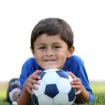 Постер, плакат: Boy with soccer ball