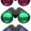 3D colored binoculars on white background — Stock Photo