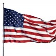 "Large U.S. Flag ""Old Glory"" blowing in strong wind on cloudl — Stock Photo #12173712"