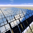 Solar panel farm in the desert - Stock Photo