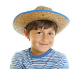 Young boy in toy cowboy hat — Stock Photo