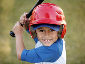 Portrait of Boy with Baseball Bat and Red Helmet — Stock Photo