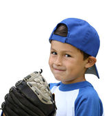 Hispanic baseball boy with blue and white clothes and glove - is — Stock Photo
