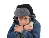 Freezing cold young boy — Stock Photo