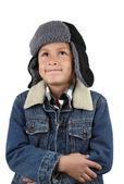Menino frio quente chapéu e casaco — Foto Stock