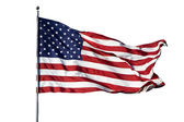 "Large U.S. Flag ""Old Glory"" blowing in a strong wind on a cloudl — Foto de Stock"