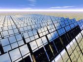 Pannello solare fattoria nel deserto — Foto Stock