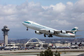 Cathay Pacific B747-8 Freighter at Los Angeles International Air — Stock Photo