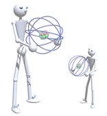 Pai e filho com átomos — Foto Stock